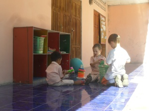 Playing at the new kindergarten