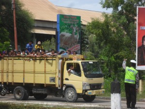 Men on truck